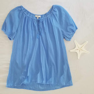 Joie Blue Peasant Blouse With Tassles Size Medium